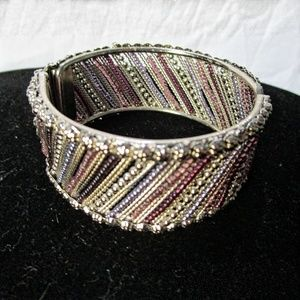 Silver Bracelet with colored beads